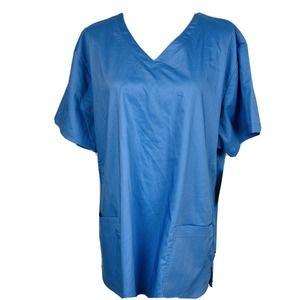 Nurse Mates Blue V Neck Maci Top 2 XL